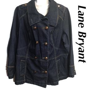 Lane Bryant Double Breasted Denim Jacket 22